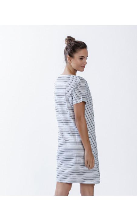 Chemise de nuit en coton, Beach Couleur Blanc - 1 - 2 - 3