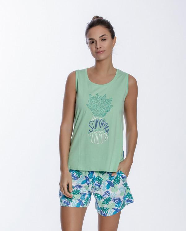 Ensemble en coton, Tropical Couleur Vert - 1