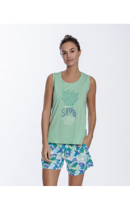 Conjunto corto de algodón, Tropical Color Verde - 1