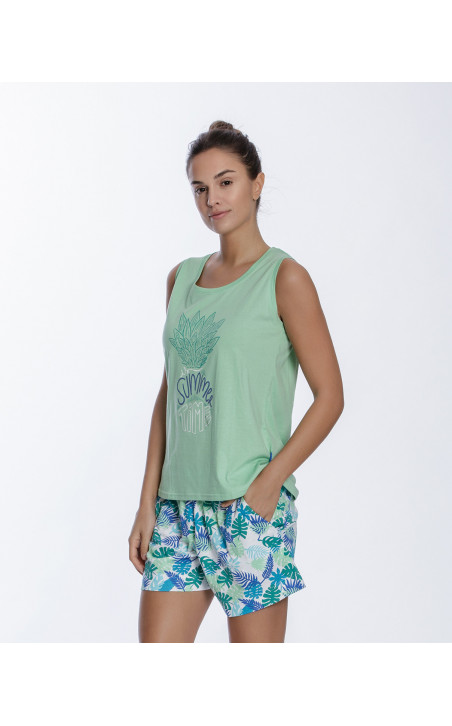Short cotton set, Tropical Color Green - 1 - 2