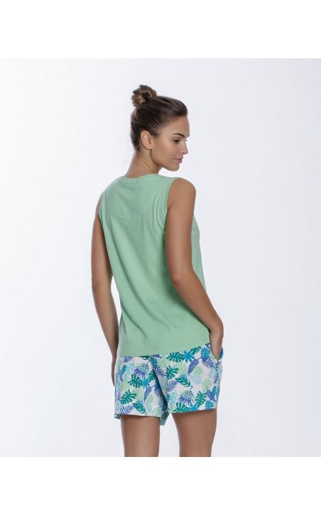 Conjunto corto de algodón, Tropical Color Verde - 1 - 2 - 3