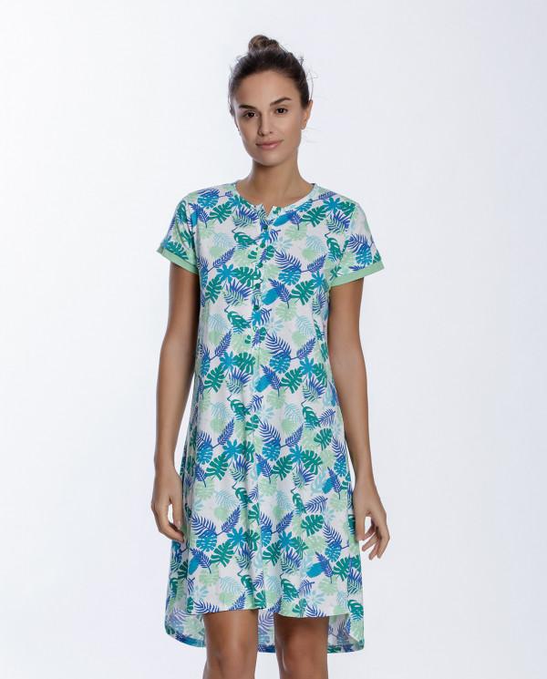 Chemise de nuit en coton, Tropical Couleur Vert - 1