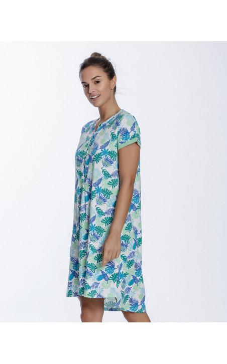 Chemise de nuit en coton, Tropical Couleur Vert - 1 - 2
