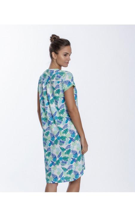 Chemise de nuit en coton, Tropical Couleur Vert - 1 - 2 - 3
