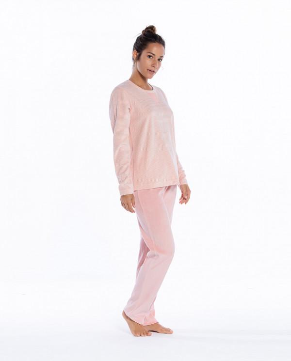 Pyjama long en velours, espace Couleur Mauve - 1