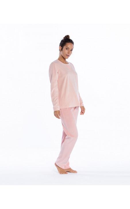 Long velvet homewear set, Space Color Mallow - 1