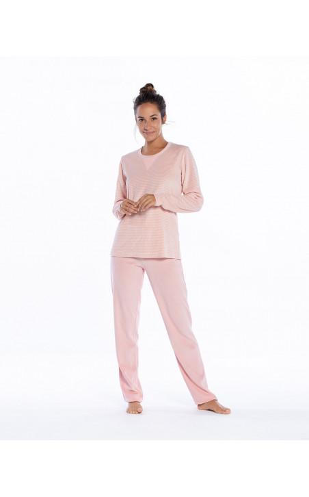 Pyjama long en velours, espace Couleur Mauve - 1 - 2