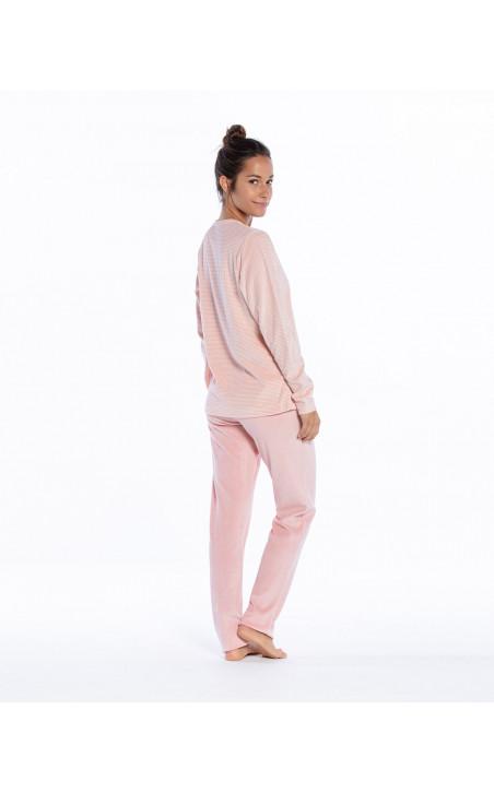 Pijama largo de terciopelo, Space Color Malva - 1 - 2 - 3