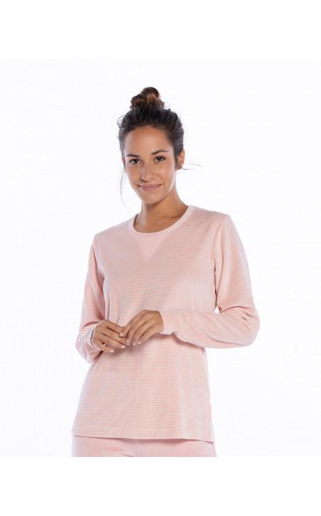 Pyjama long en velours, espace Couleur Mauve - 1 - 2 - 3 - 4