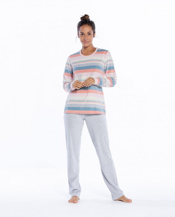 Pyjama long en velours, Space Couleur Gris - 1