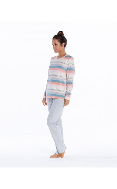 Pyjama long en velours, Space Couleur Gris - 1 - 2