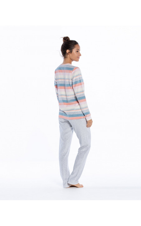Pyjama long en velours, Space Couleur Gris - 1 - 2 - 3