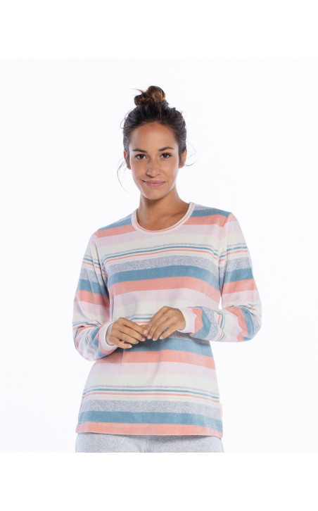 Pijama llarg de vellut, Space Color Gris - 1 - 2 - 3 - 4