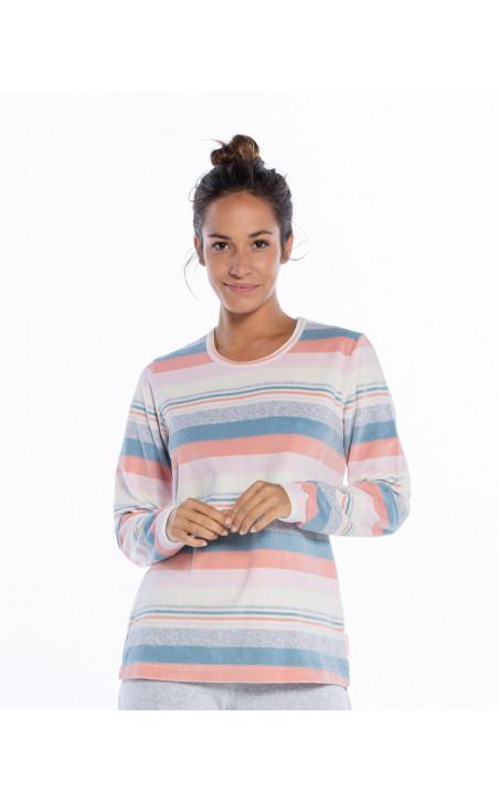 Pyjama long en velours, Space Couleur Gris - 1 - 2 - 3 - 4