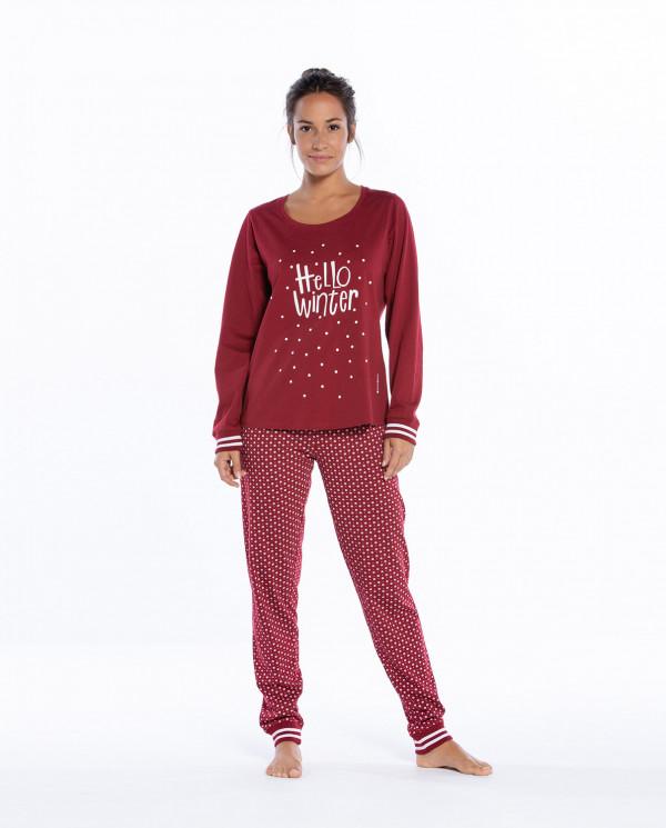 Long cotton pyjamas set, Winter Color Burgundy - 1
