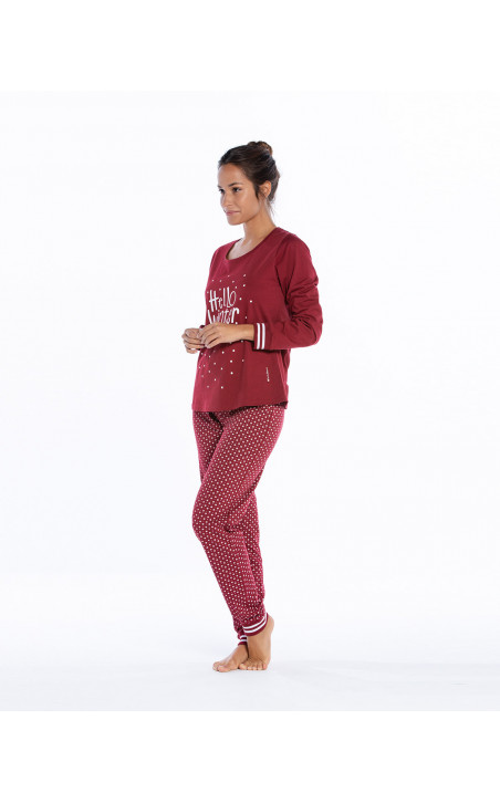 Long cotton pyjamas set, Winter Color Burgundy - 1 - 2