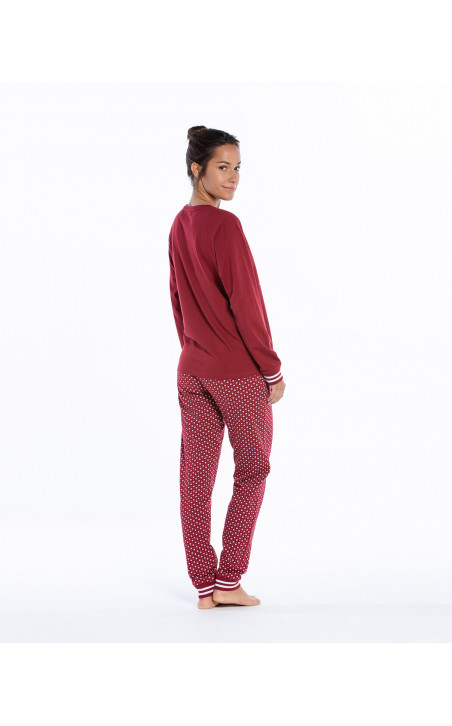 Long cotton pyjamas set, Winter Color Burgundy - 1 - 2 - 3