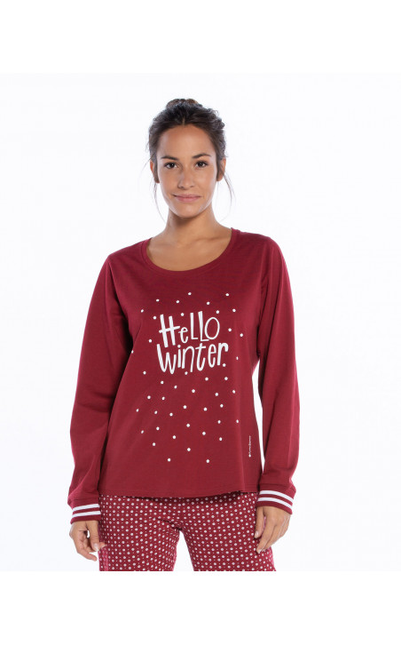 Long cotton pyjamas set, Winter Color Burgundy - 1 - 2 - 3 - 4