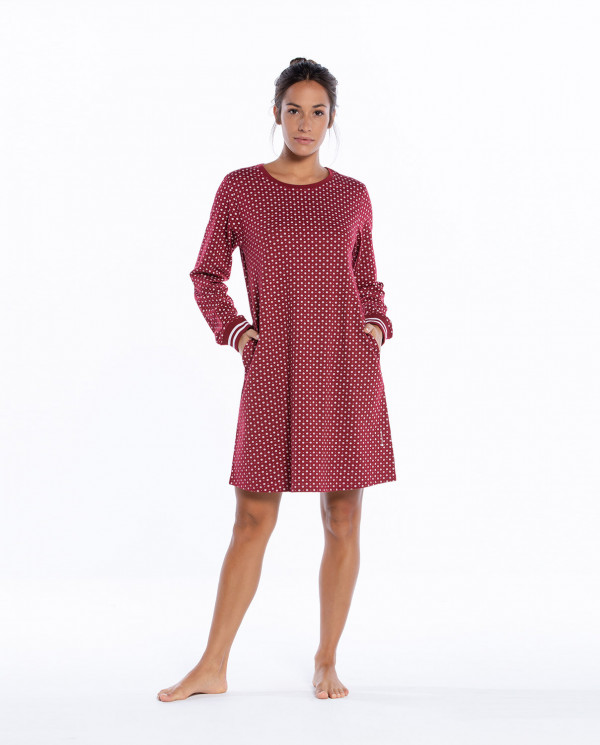 Cotton nightgown, Winter Color Burgundy - 1