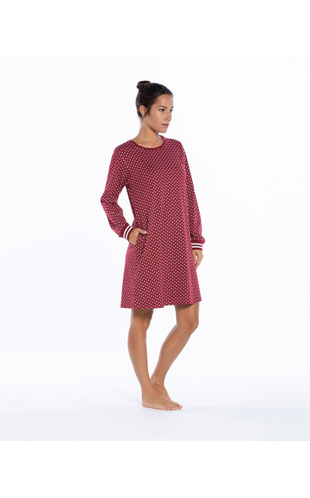 Cotton nightgown, Winter Color Burgundy - 1 - 2