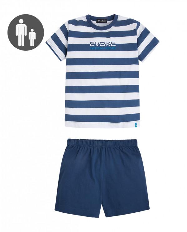 Ensemble de coton et rayures bleu marine, Evoke Couleur Bleu marine - 1