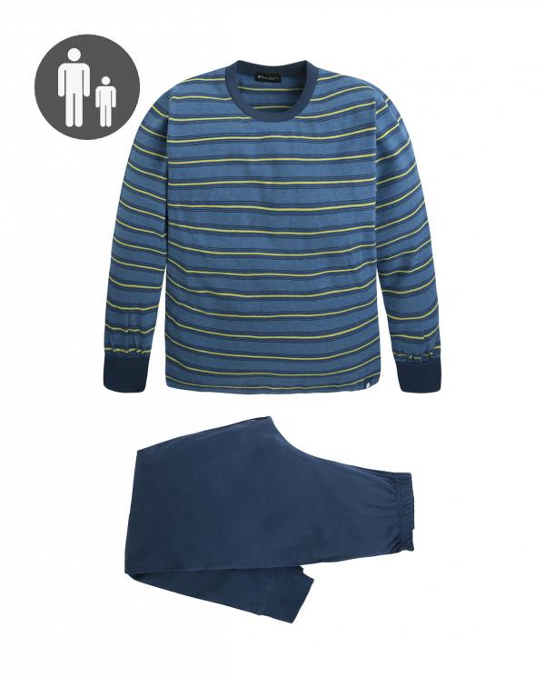 Pyjama long en coton, Frequency Couleur Bleu - 1