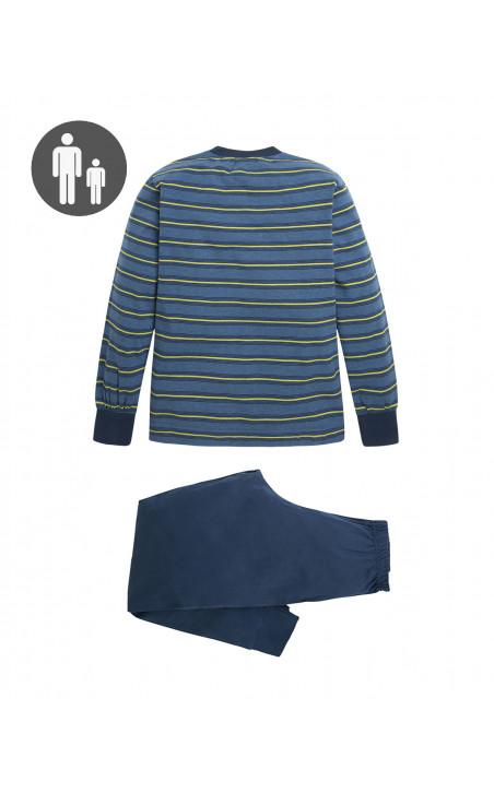 Pyjama long en coton, Frequency Couleur Bleu - 1 - 2