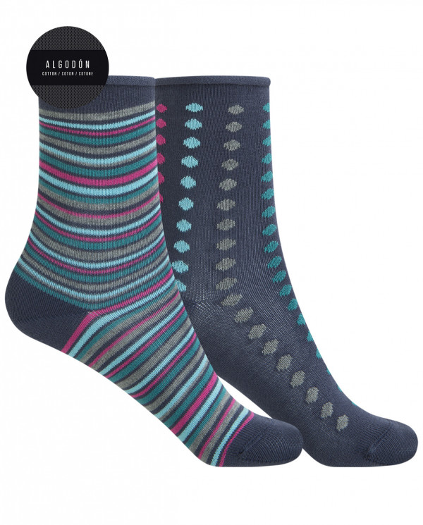 """2 pack cotton socks - dots and stripes """"rolled cuff"""" Color Blue - 1"""