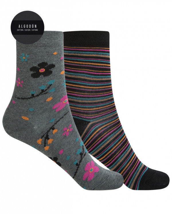 """2 pack cotton socks - flowers and stripes  """"rolled cuff"""" Color Assorted - 1"""