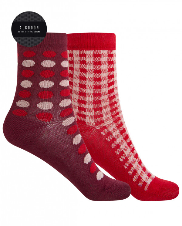 "2 pack cotton socks - polka dots and squares ""rolled cuff"" Color Assorted - 1"