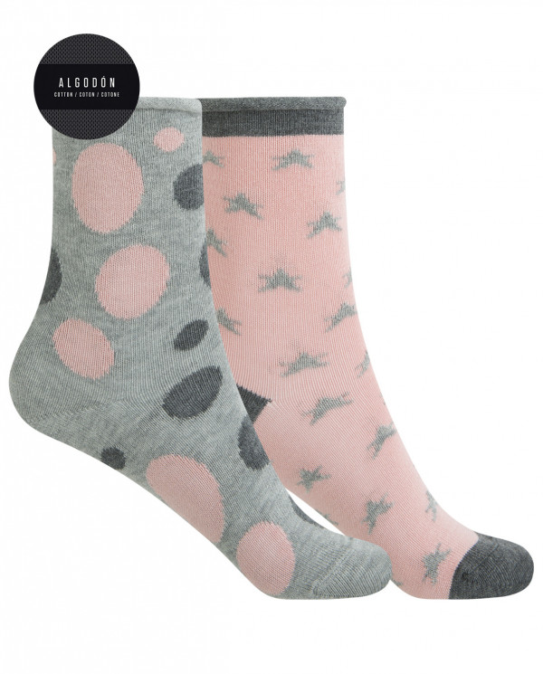 "2 pack cotton socks - dots and stars ""rolled cuff"" Color Assorted - 1"