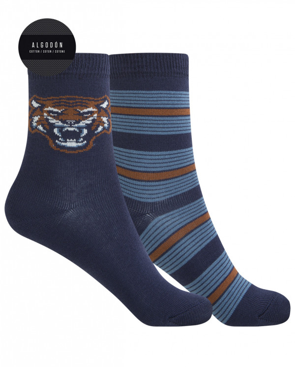 2 pack cotton socks - tiger and stripes Color Navy - 1