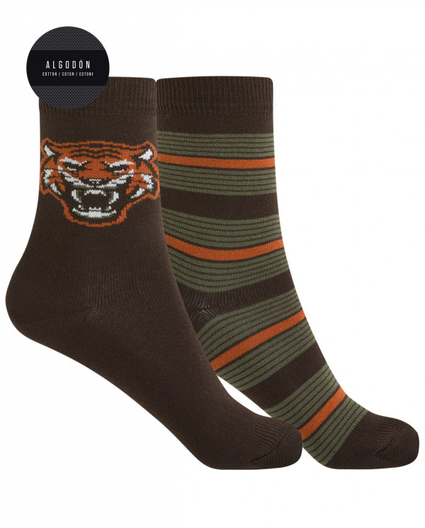 2 pack cotton socks - tiger and stripes Color Brown - 1