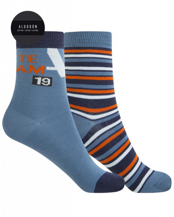 2 pack cotton socks - team and stripes Color Blue - 1