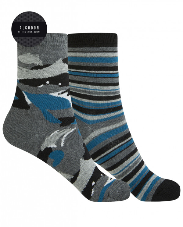 2 pack cotton socks - camouflage and stripes Color Assorted - 1