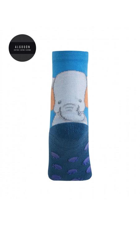 """Calcetines de algodón - elefante """"Antideslizante"""" Color Azul - 1 - 2"""