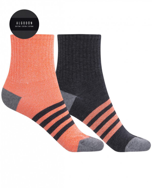 Pack de 2 chaussettes en coton sportives - rayures Couleur Assorti - 1