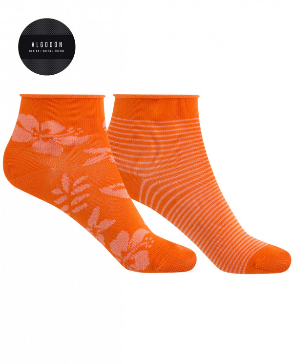 2 pack of cotton socks - Hawaiian flower and rolled cuff Color Orange - 1