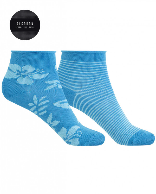 2 pack of cotton socks - Hawaiian flower and rolled cuff Color Blue - 1