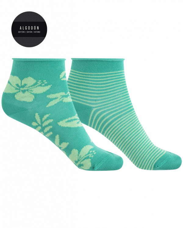 2 pack of cotton socks - Hawaiian flower and rolled cuff Color Green - 1