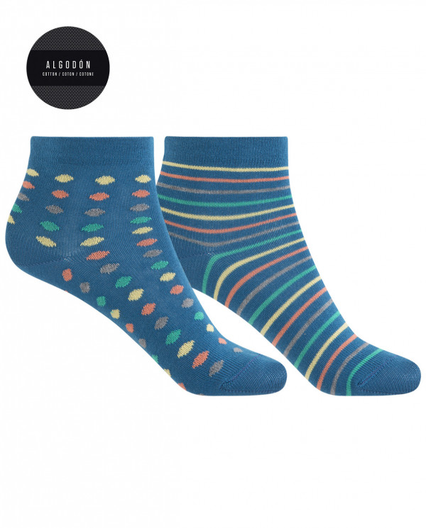 2 pack of cotton socks - dots and stripes Color Blue - 1