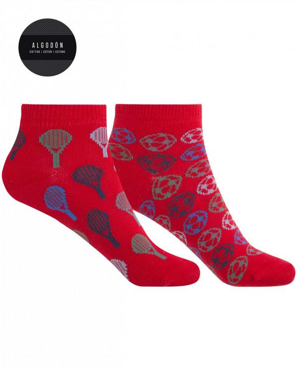 Pack de 2 calcetines de algodón - raquetas y pelotas Color Rojo - 1
