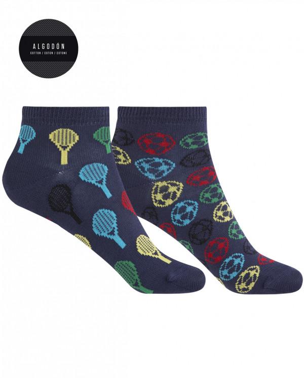 Pack de 2 calcetines de algodón - raquetas y pelotas Color Marino - 1