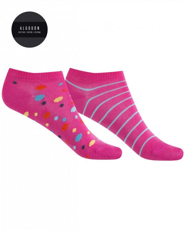 Lot de 2 chaussettes en coton - pois et fines rayures Couleur Fuchsia - 1
