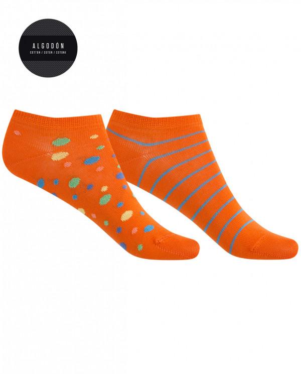 Lot de 2 chaussettes en coton - pois et fines rayures Couleur Orange - 1