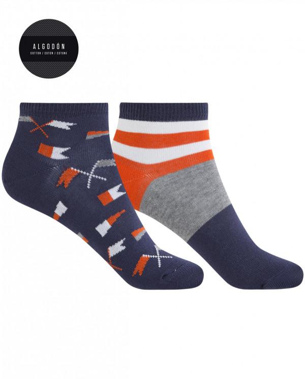 Pack de 2 calcetines de algodón - banderas y rayas Color Marino - 1