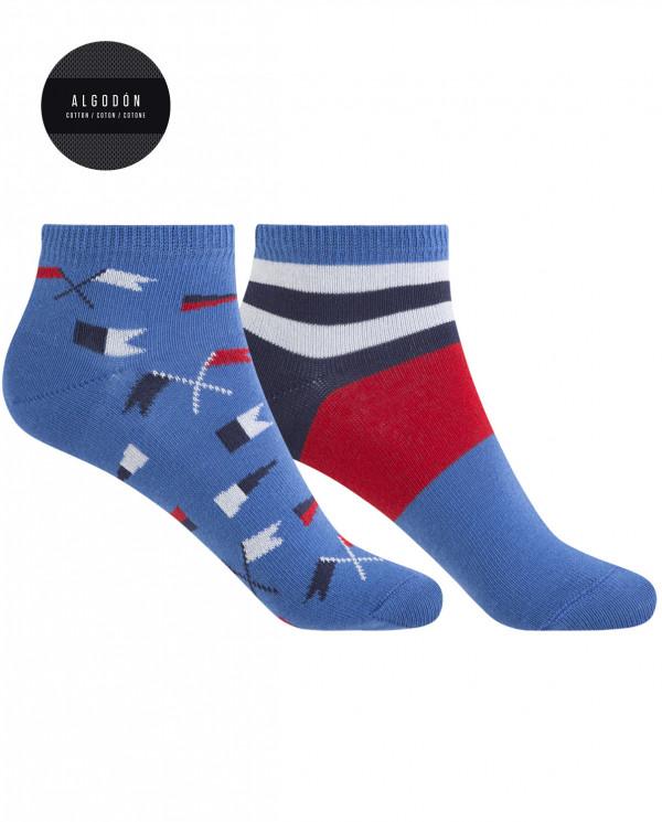 Lot de 2 chaussettes en coton - drapeaux et rayures Couleur Bleu - 1