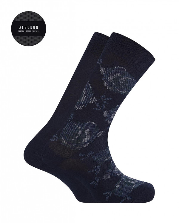 2 pack cotton socks- flowers and plain Color Navy - 1