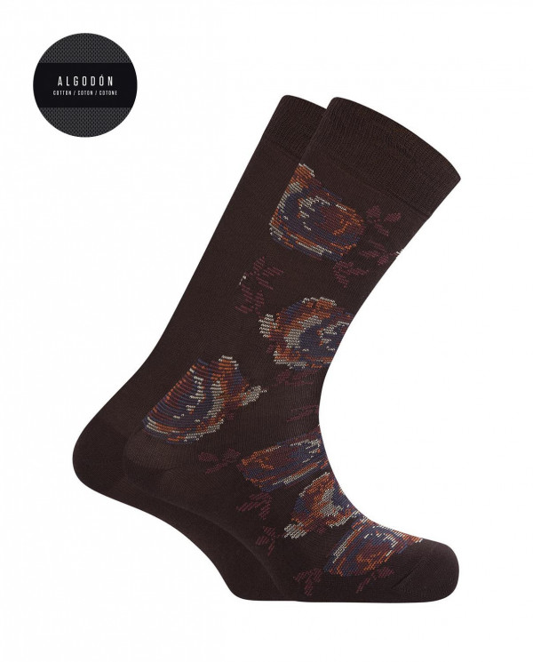 2 pack cotton socks- flowers and plain Color Brown - 1