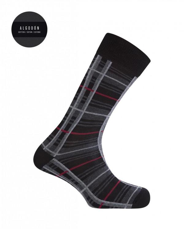 Cotton socks - checks Color Black - 1
